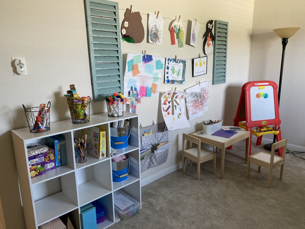 a child's art studio alternative to flashy toys